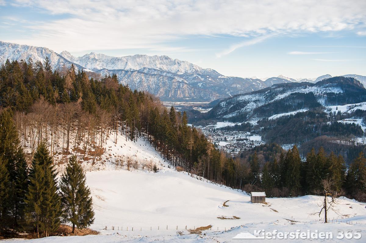 07.03.2015 - Aussicht bei Zaglach Richtung Süden auf Oberaudorf und Kiefersfelden