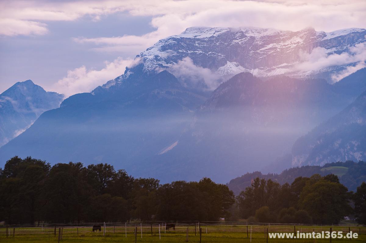 24.09.2015 - Blick zum Rofan mit erstem Schnee.