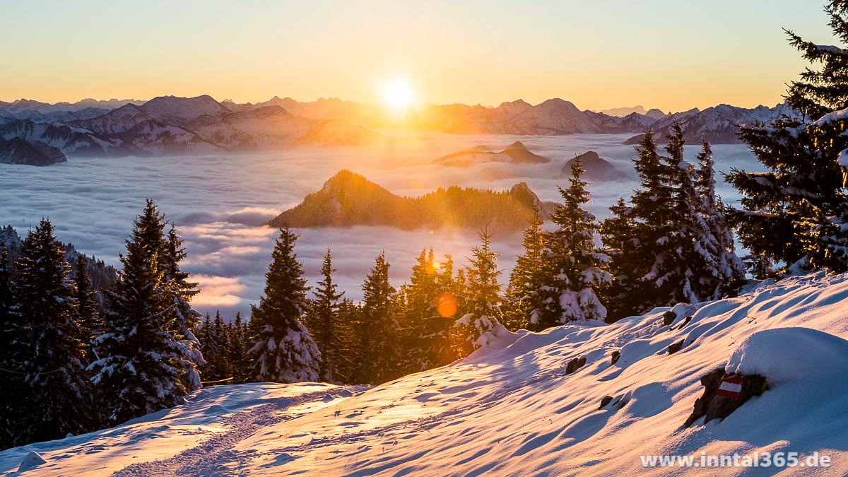 23.11.2016 - Sonnenuntergang auf dem Weg zur Hochrieshütte